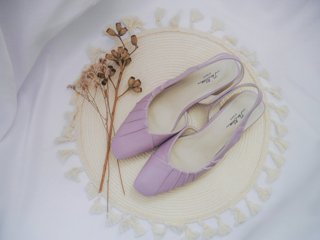 Ruched Wrinkled Pattern Slingback Heels [Yam Purple]