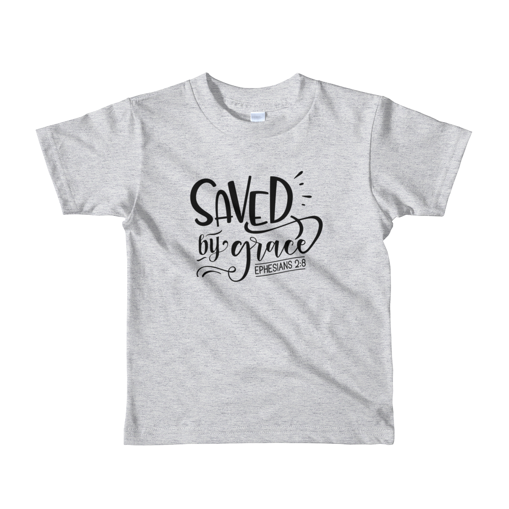 """Saved by grace"" Short sleeve kids t-shirt #156"