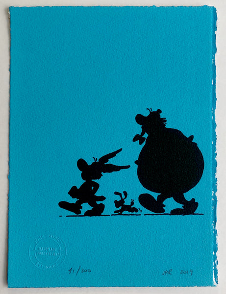 Asterix, Obelix and Dogmatix in silhouette (on light blue)