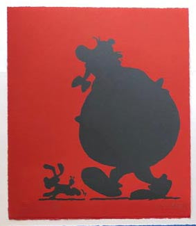 Obelix silhouette on red - one off
