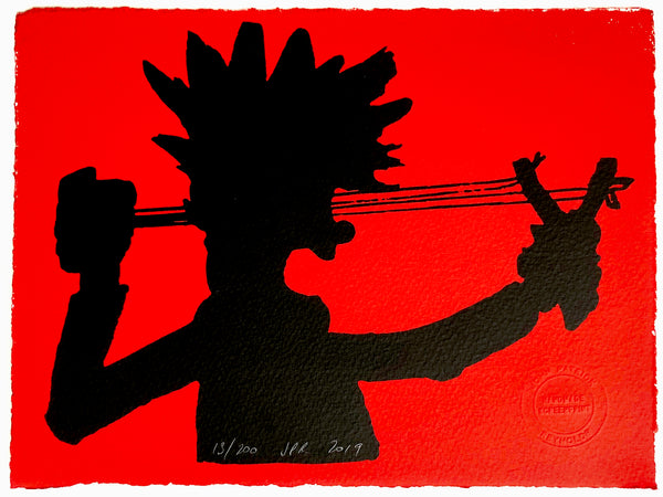 Dennis The Menace Shoots His Catapult In Silhouette