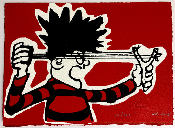 Dennis The Menace Shoots His Catapult