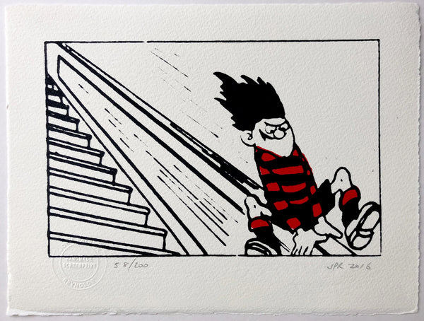 Dennis The Menace Slides Down The Bannisters