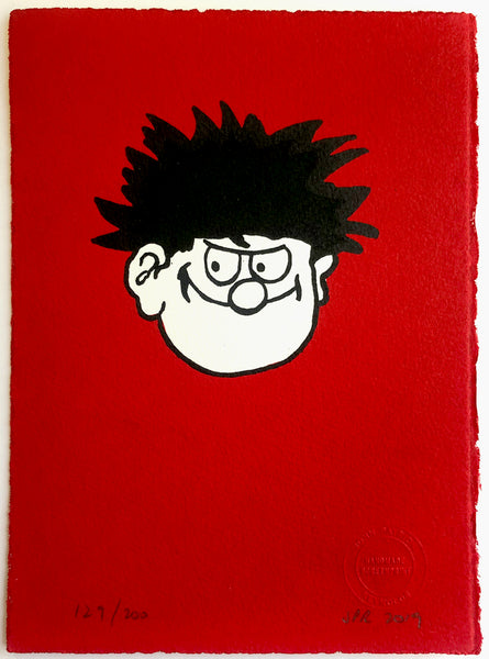 Dennis the Menace's Face On Red Background