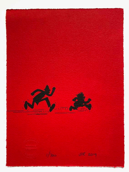 Dennis the Menace Chased by Copper in silhouette