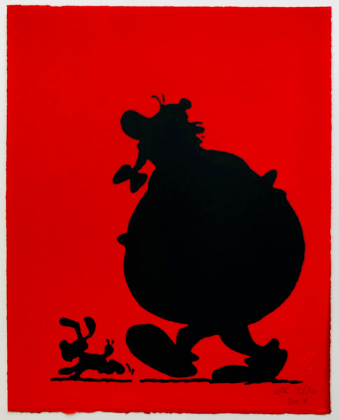 Obelix And Dogmatix In Silhouette (on red)