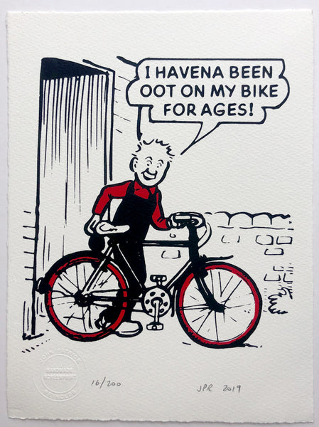 Oor Wullie gets his bike out of the shed