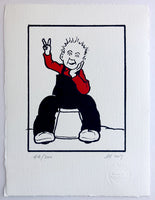 Oor Wullie makes the peace sign