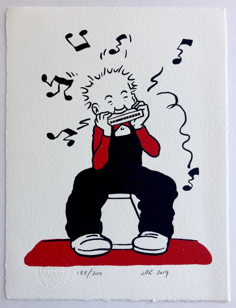 Oor Wullie plays his mouth organ