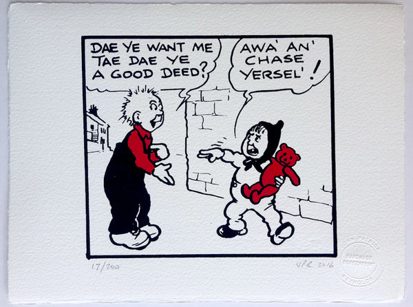 Oor Wullie wants to help Wee Eck (but is rebuffed)