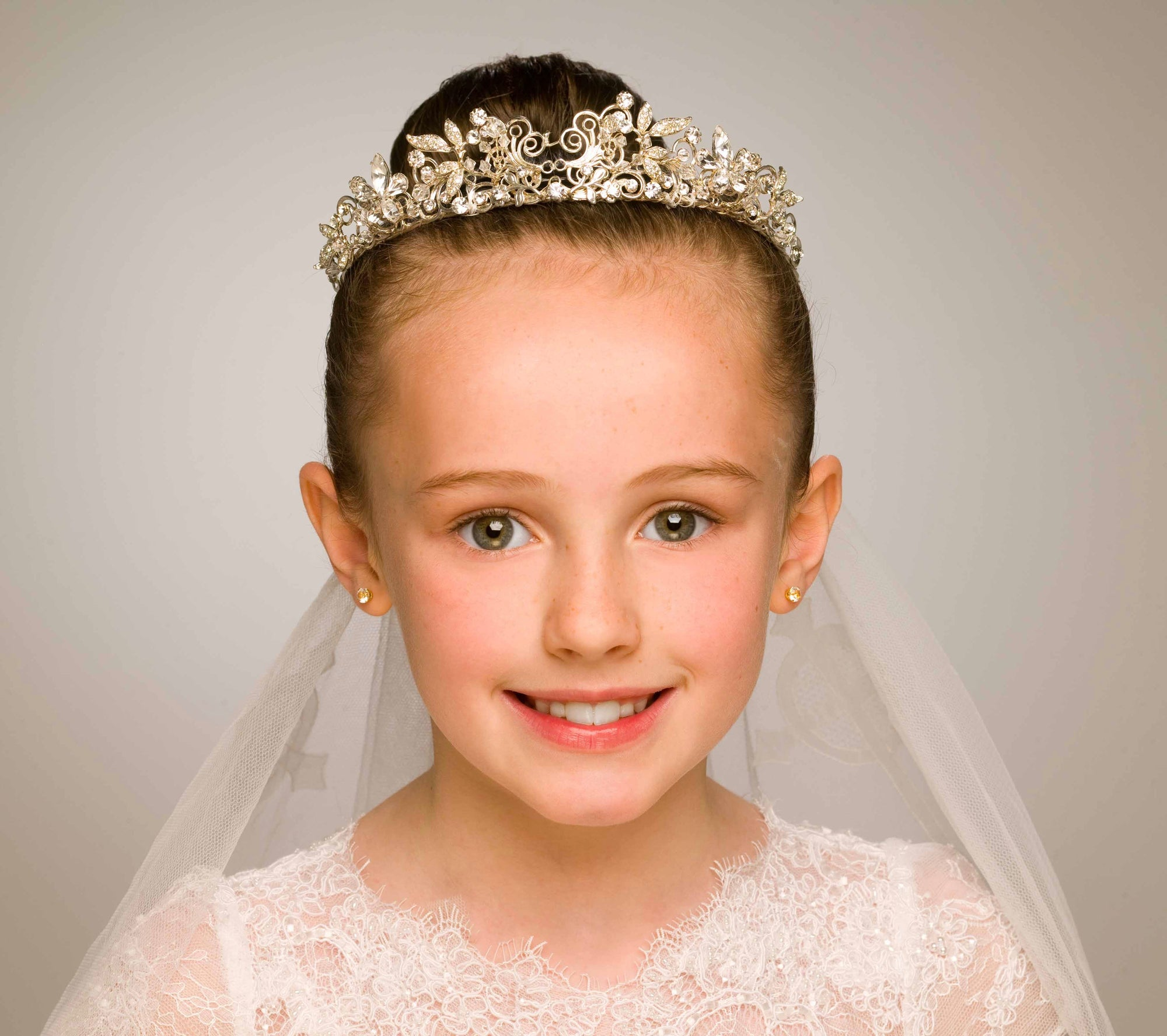 First Communion Portrait close up of a young girl in colour by PHOTOGENIC Dalkey