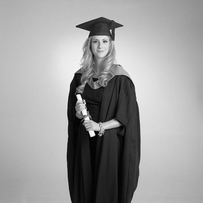 Graduation Portrait of a woman in black and white