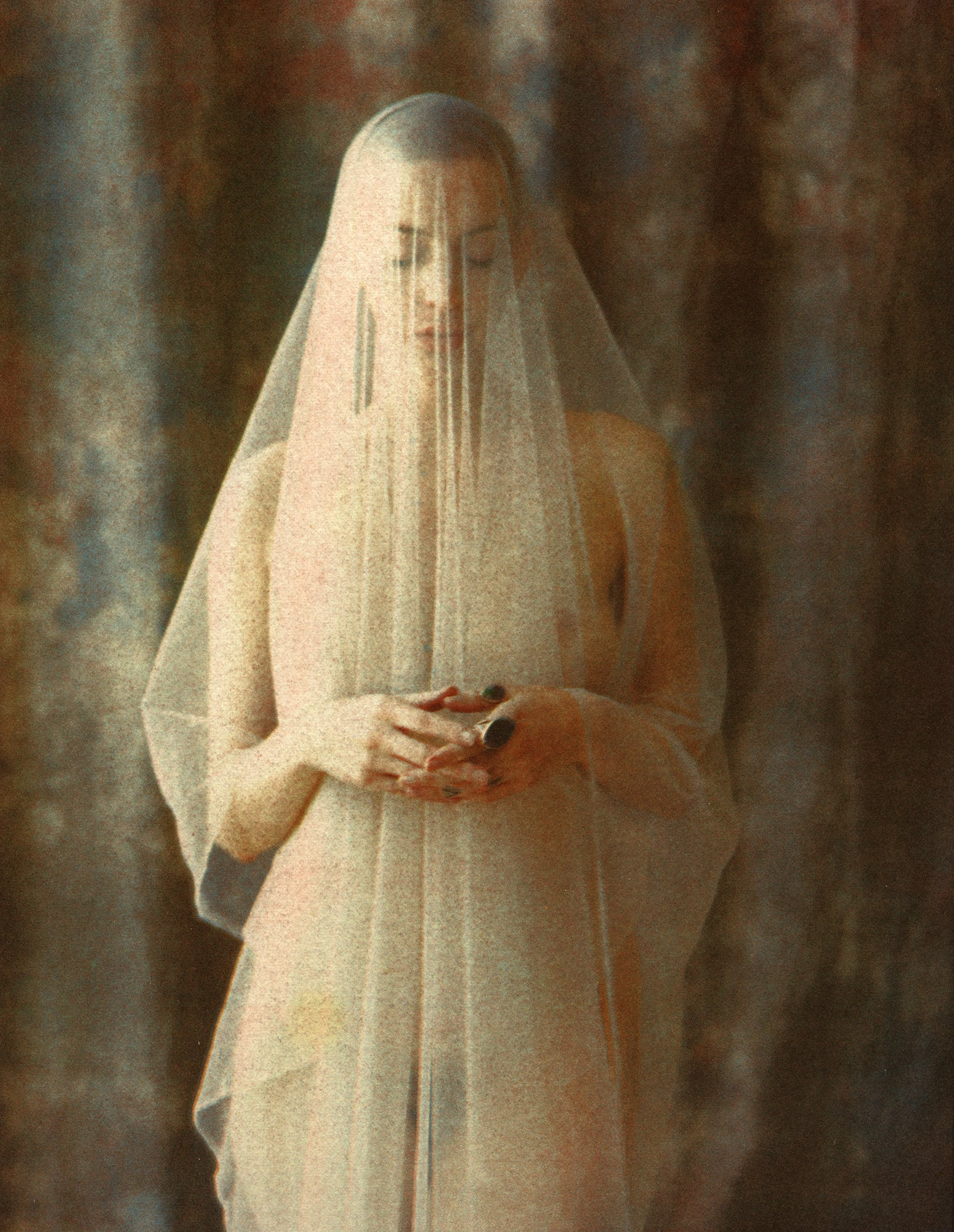 Draped nude: Tri-color gum bichromate print