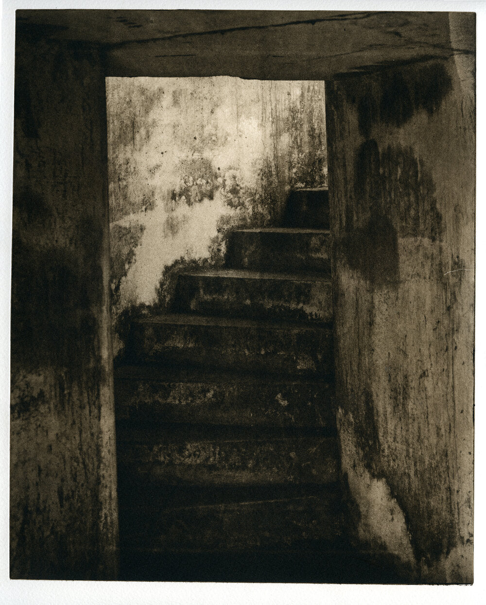 Battery Stairs-  polymer gravure print
