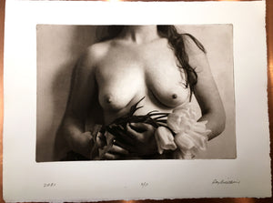 Nude torso with tulips, A/P -  Polymer photogravure