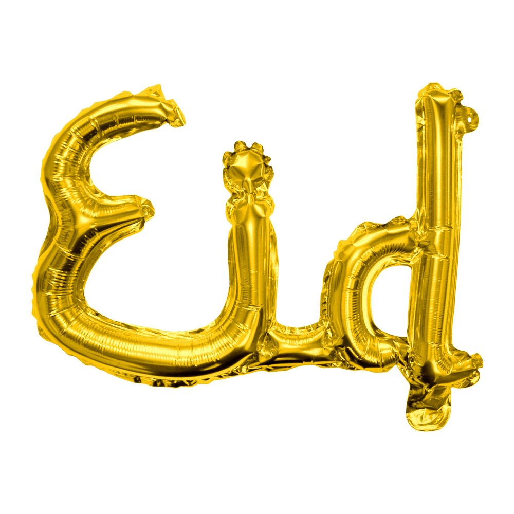 Gold 'Eid' auto-seal joined calligraphy foil balloon  Air inflate with inclosed straw - no need for helium  Comes with a hanging string that threads through the top of the balloon  Approx width: 55cm. Approx height: 32cm
