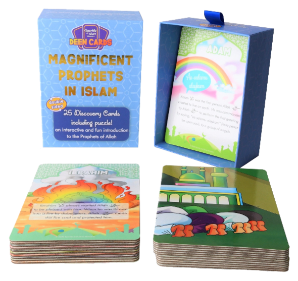 Discover the truly amazing miracles Allah blessed Muhammad, Ibrahim, Isa and more magnificent Prophets in Islam (may peace be upon them) with and explore their unique characteristics.  Introduce the blessed Prophets in Islam to your child through these Deen Cards – Discovery Cards designed to make Islamic learning interactive and fun!  The 25 cards share amazing facts about the best role models to have walked the Earth and come housed in a beautiful and sturdy box, ideal for securely storing away.  The colo