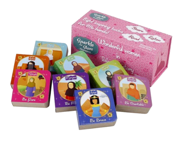 Take a look inside the lives of Maryam, Khadija, Asiya and more truly wonderful women in Islamic history to explore concepts including confidence, patience, modesty, charity and more!  These eight sturdy board books are perfect for little hands and come housed in a beautifully designed box with a magnetic enclosure, ideal for securely storing away.  This unique book set would make the perfect gift - inspirational, educational and fun!  Recommended for ages 2 to upto 6 years old. However, teaches values for