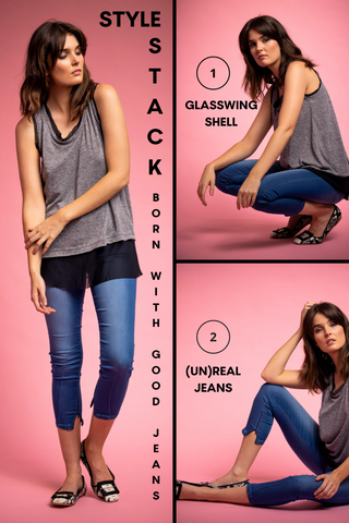 Born with Good Jeans Style Stacks image featuring options to wear the (UN)REAL jean