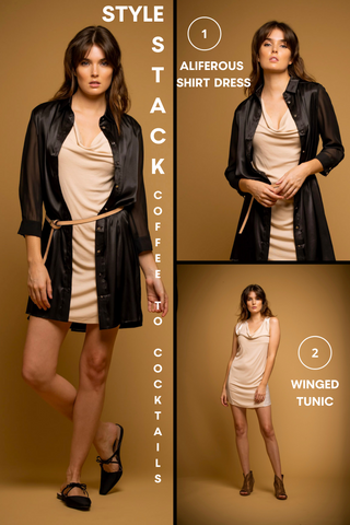 Coffee to Cocktails Style Stack image with model wearing the winged tunic dress with aliferous shirt dress as an over-shirt showing the options available to wear and purchase