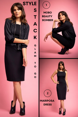 Glam to Go Style Stack showing a model wearing various outfit options, including the mariposa dress with the MOBO Beauty Bomber Jacket