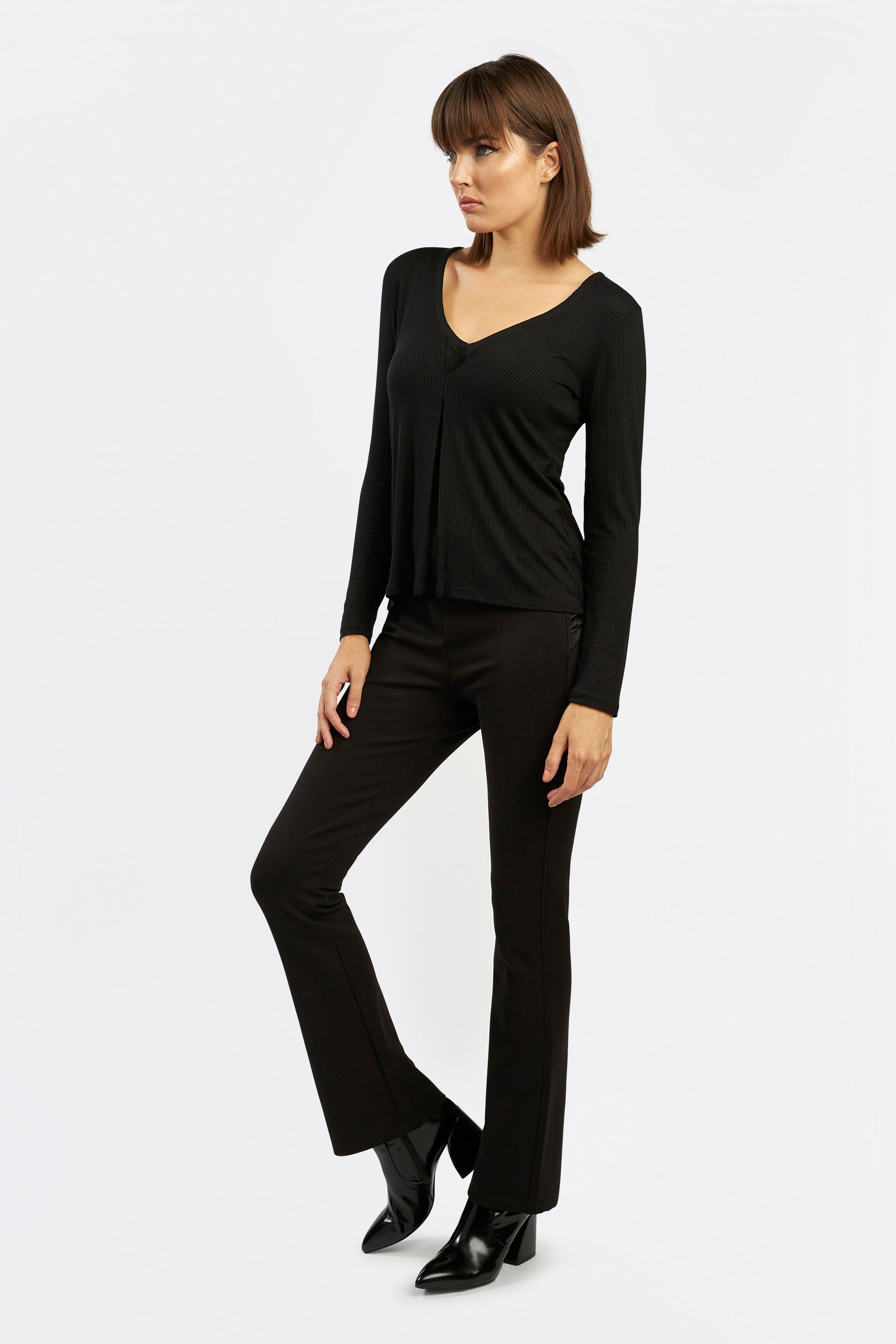 Royal Tuck Top knit top by INLARKIN with inverted pleat at bust for a fitted flattering look