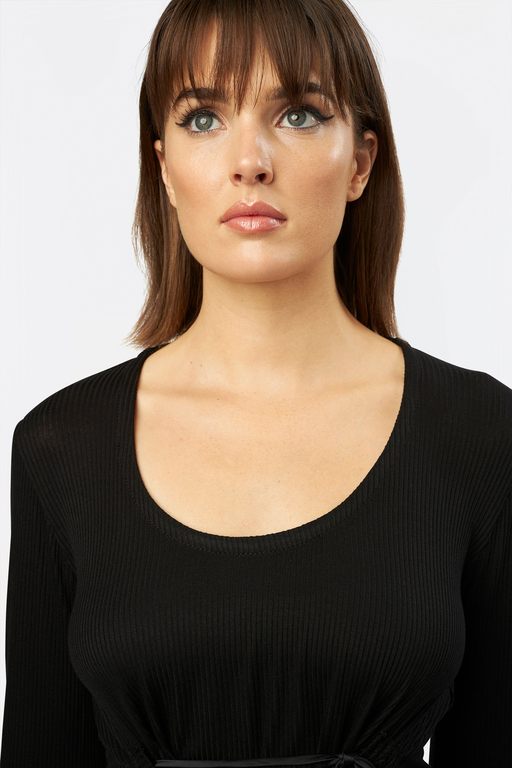 Cool Casing Knit Top by INLARKIN with scoop neck and perfectly placed drawstring to lift in all the right places