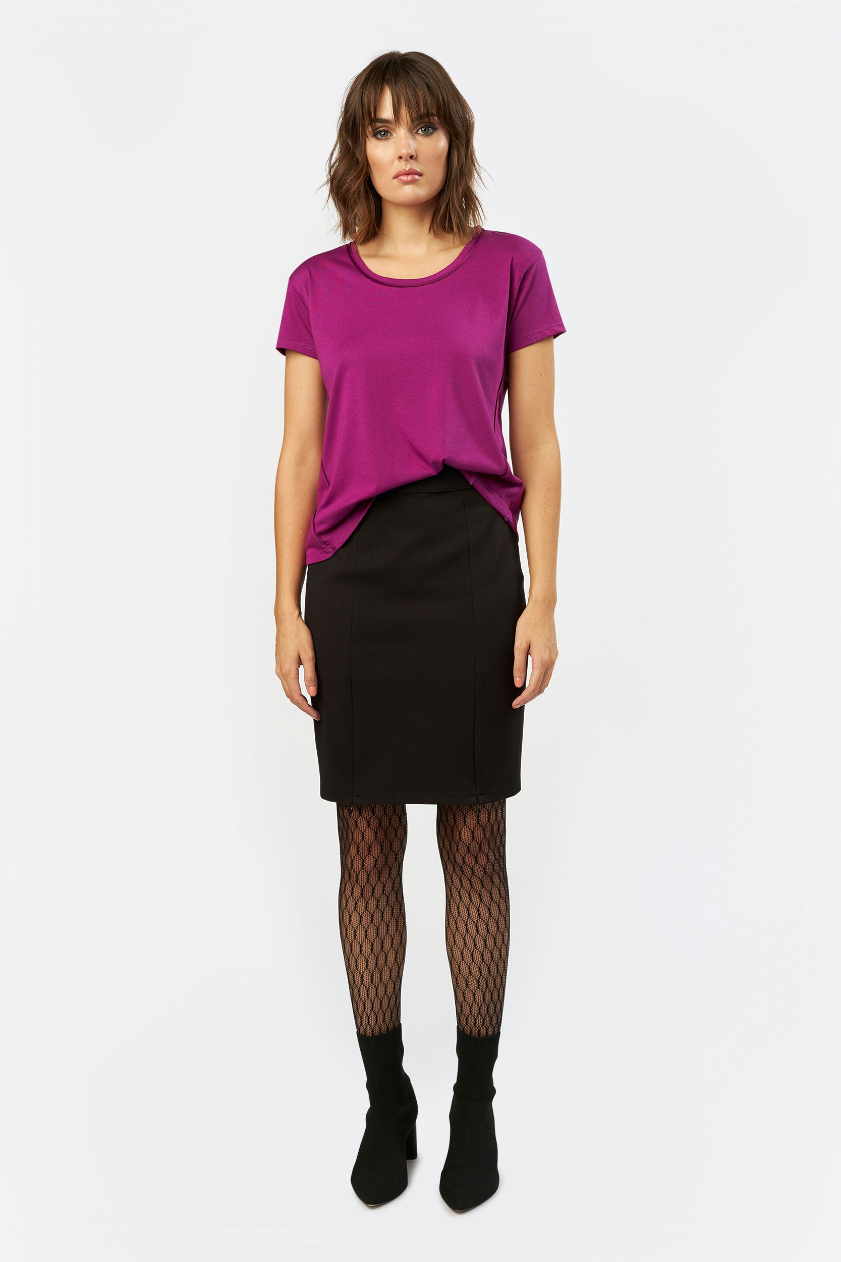 Perfect Pencil Skirt by INLARKIN in black with concealed zippers at hem and Ponte de Roma fabric for comfort
