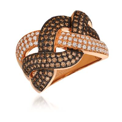 14K Strawberry Gold® Ring with Chocolate Diamonds® 1 cts., Vanilla Diamonds® 3/8 cts.