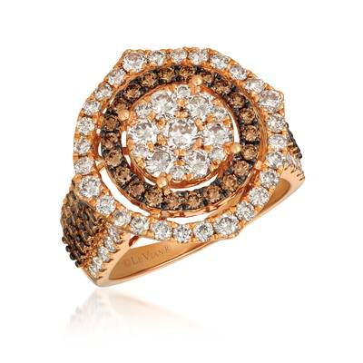14K Strawberry Gold® Ring with Nude Diamonds™ 1 3/4 cts., Chocolate Diamonds® 7/8 cts