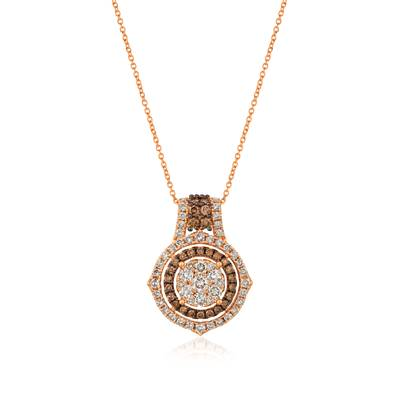 14K Strawberry Gold® Pendant with Nude Diamonds™ 1 1/2 cts., Chocolate Diamonds® 1/2 cts.