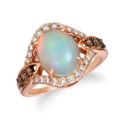 14K Strawberry Gold® Neopolitan Opal™ 1 7/8 cts. Ring with Chocolate Diamonds® 1/5 cts., Nude Diamonds™ 3/8 cts.