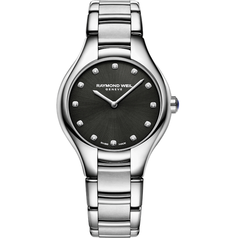 Noemia Ladies Quartz 12 Diamond Black Watch,5132-ST-20081