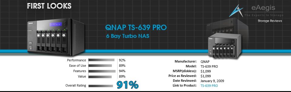 First Looks - QNAP TS-639-PRO eAegis Review