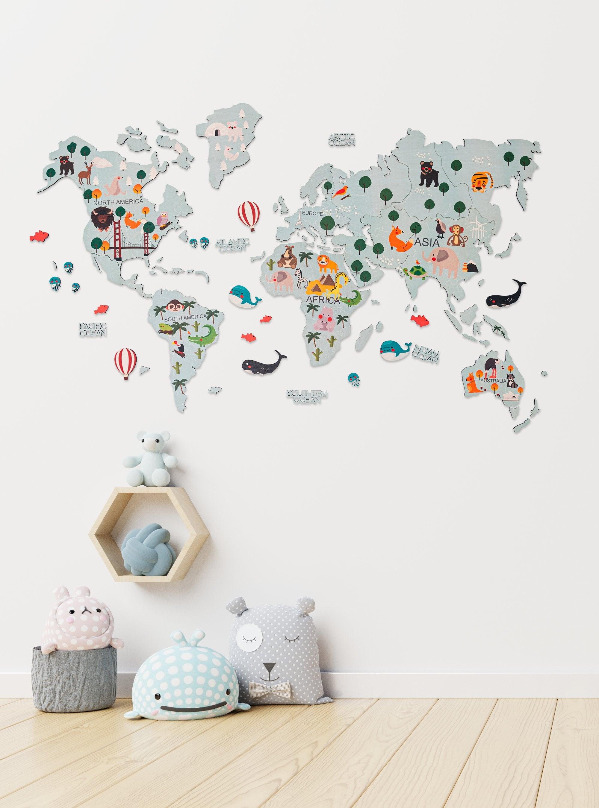Kids Wooden World Map Turquoise