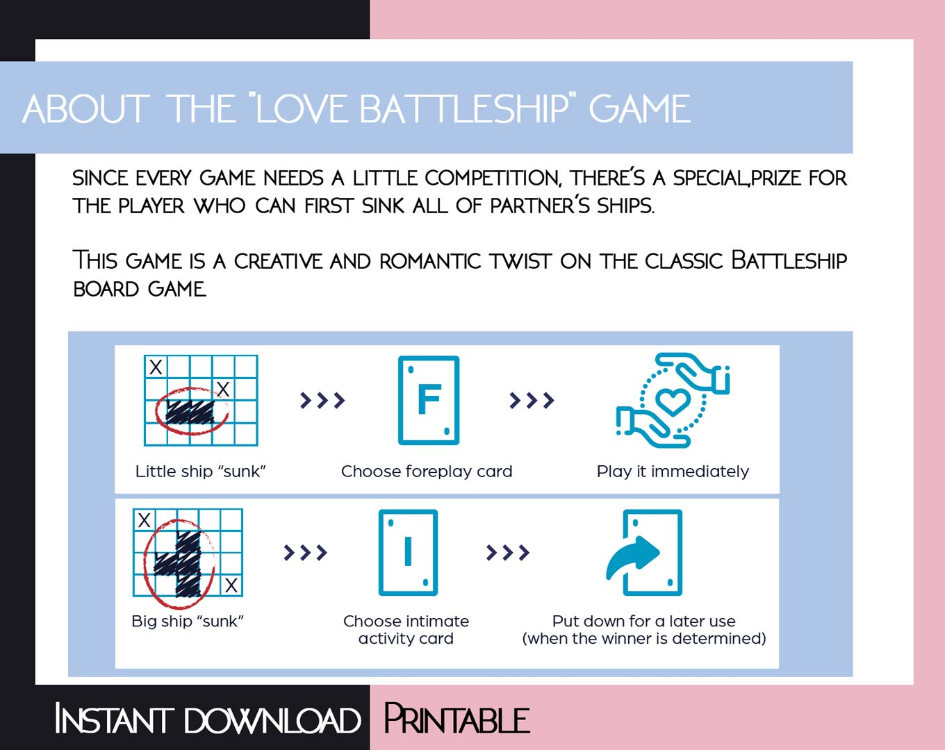 Printable Love Battleship game PDF