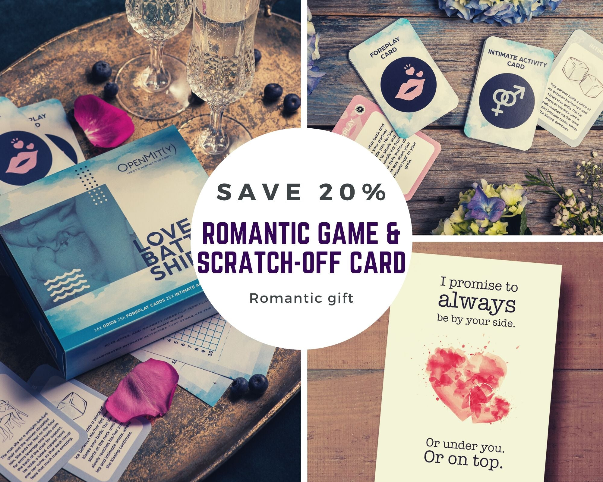 Romantic gift set: game for couples and scratch off card