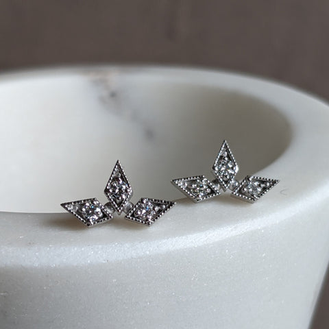 White Triple Star Studs