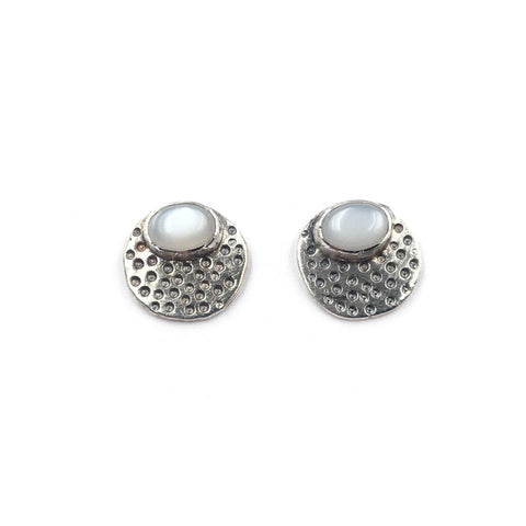 Dotted Pebble Studs, Moonstone