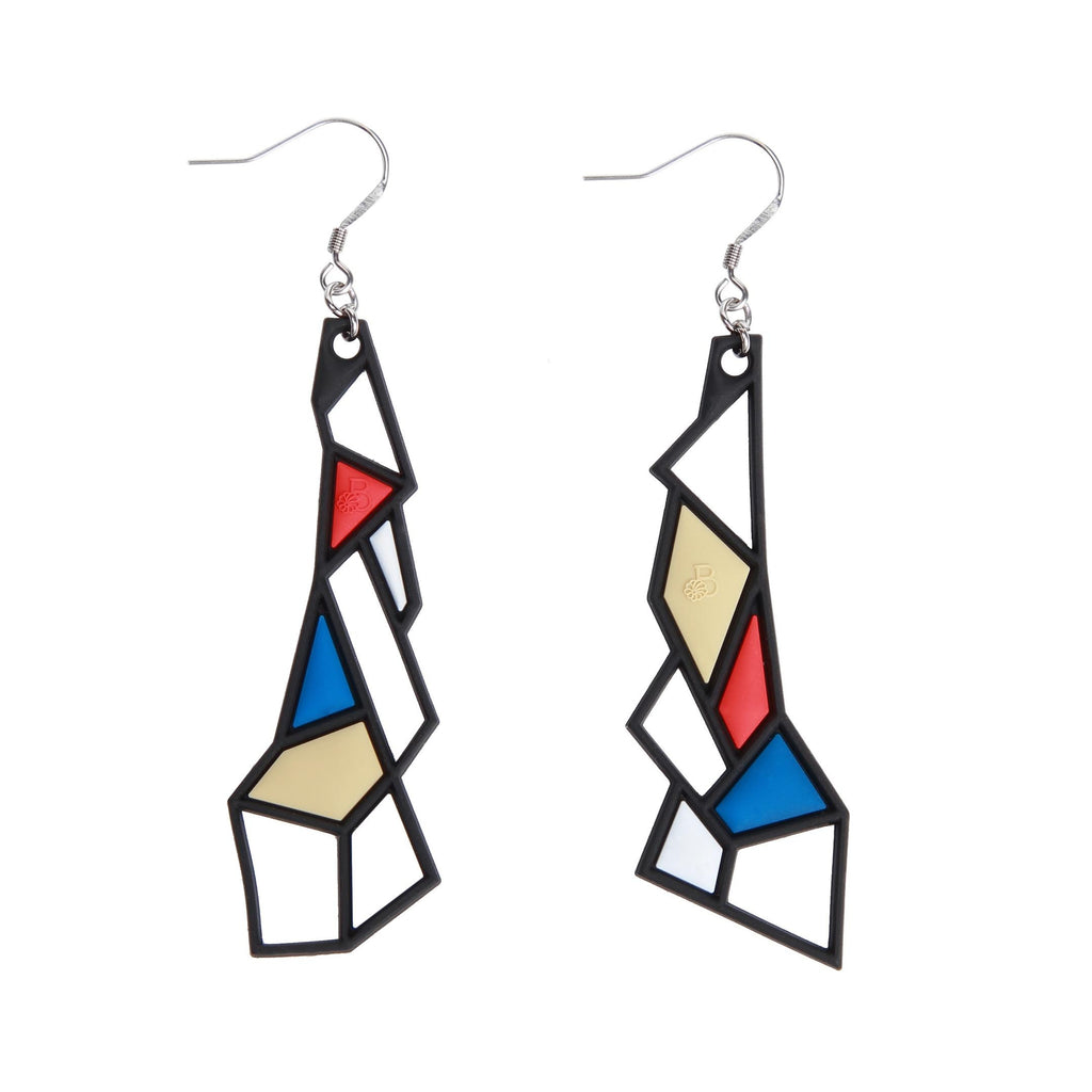Prism Earrings, Blue & Red