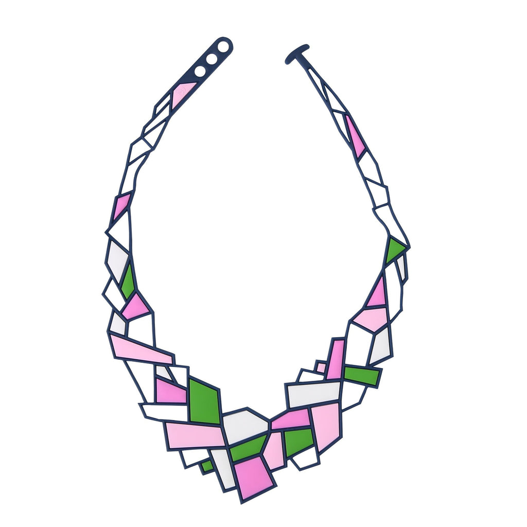 Prism Necklace, Pink & Green