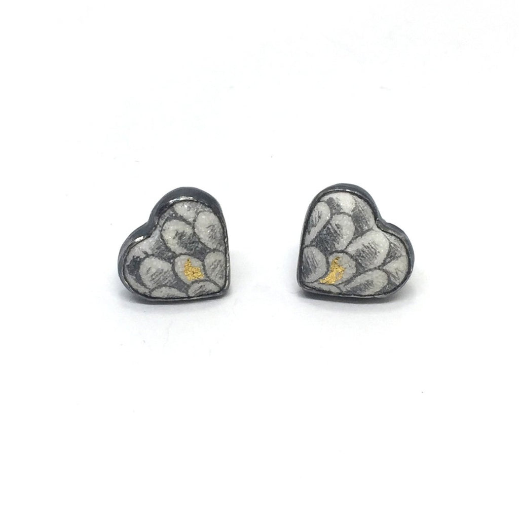Heart Post Earrings, Scale