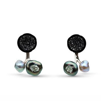 Tahitian Baroque Pearl Diamond Geode Studs with Jackets