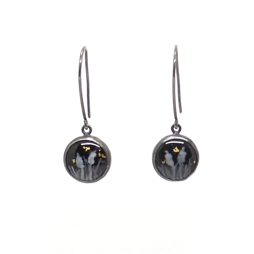 Button Dangles, Black Enamel with Cattails
