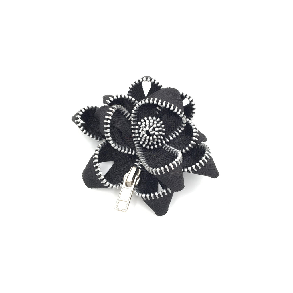 Zipper Pin, Black and Silver