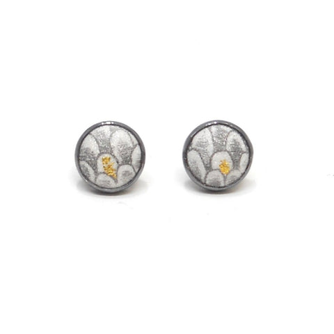 Button Post Earrings, Scale