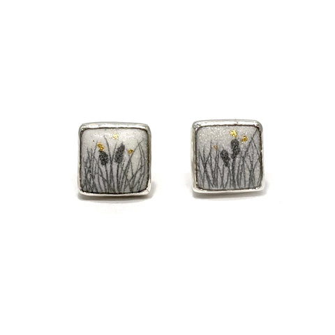 Square Post Earrings, Cattail