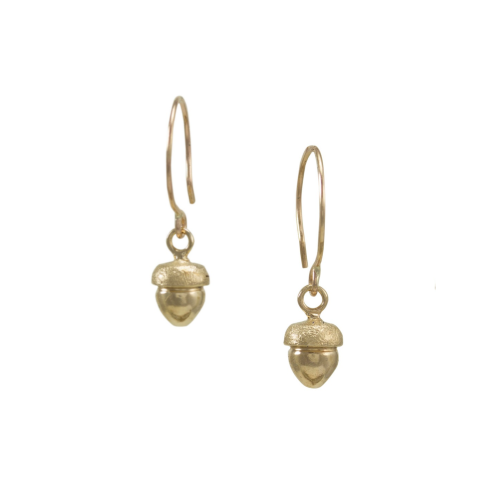 Fallen Acorn Earrings, Gold