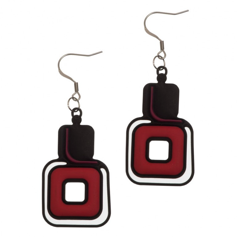Pythagoras Earrings, Red & Purple