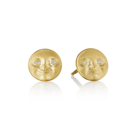 Moonface Stud Earring, Gold